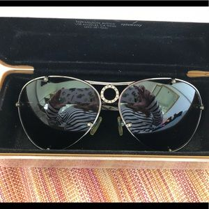 Valentino Aviator Sunglasses, Platinum & Diamond